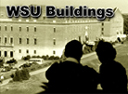 Image of two individuals staring at a Washington State University building.