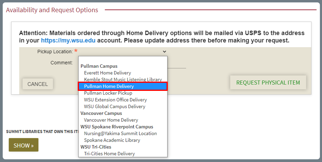 Pullman Home Delivery dropdown screenshot