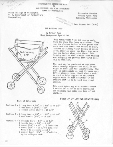 Early Extension publication explains how to construct a laundry cart on wheels.