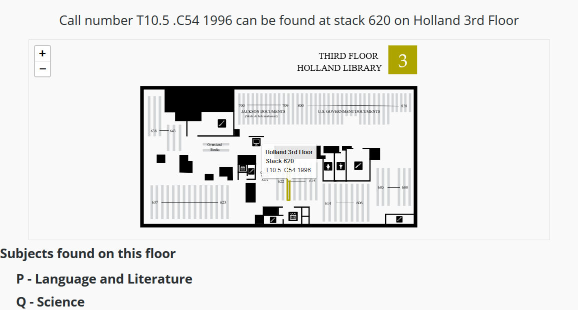 Map It example showing 3rd floor of holland with a stack highlighted