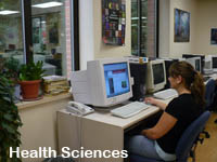 Image of a woman Wegner Hall's Animal Health Library using a computer in the study center.