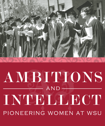 Image of the Ambitions and Intellect poster showing women in graduation gowns.
