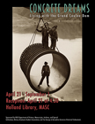 Poster of Living with the Grand Coulee Dam showing two men standing above a hanging concrete cylinder while one man stands inside.